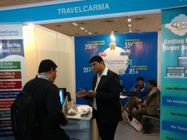 TravelCarma showcasing its products at SATTE 2016